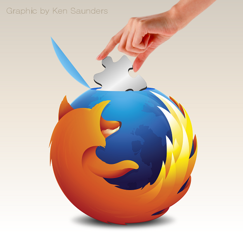 A crane lowering a puzzle piece onto the Firefox logo