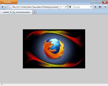 Firefox browser window with an image in it zoomed out