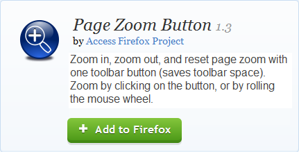 Screen shot of the Page Zoom Button add-on page