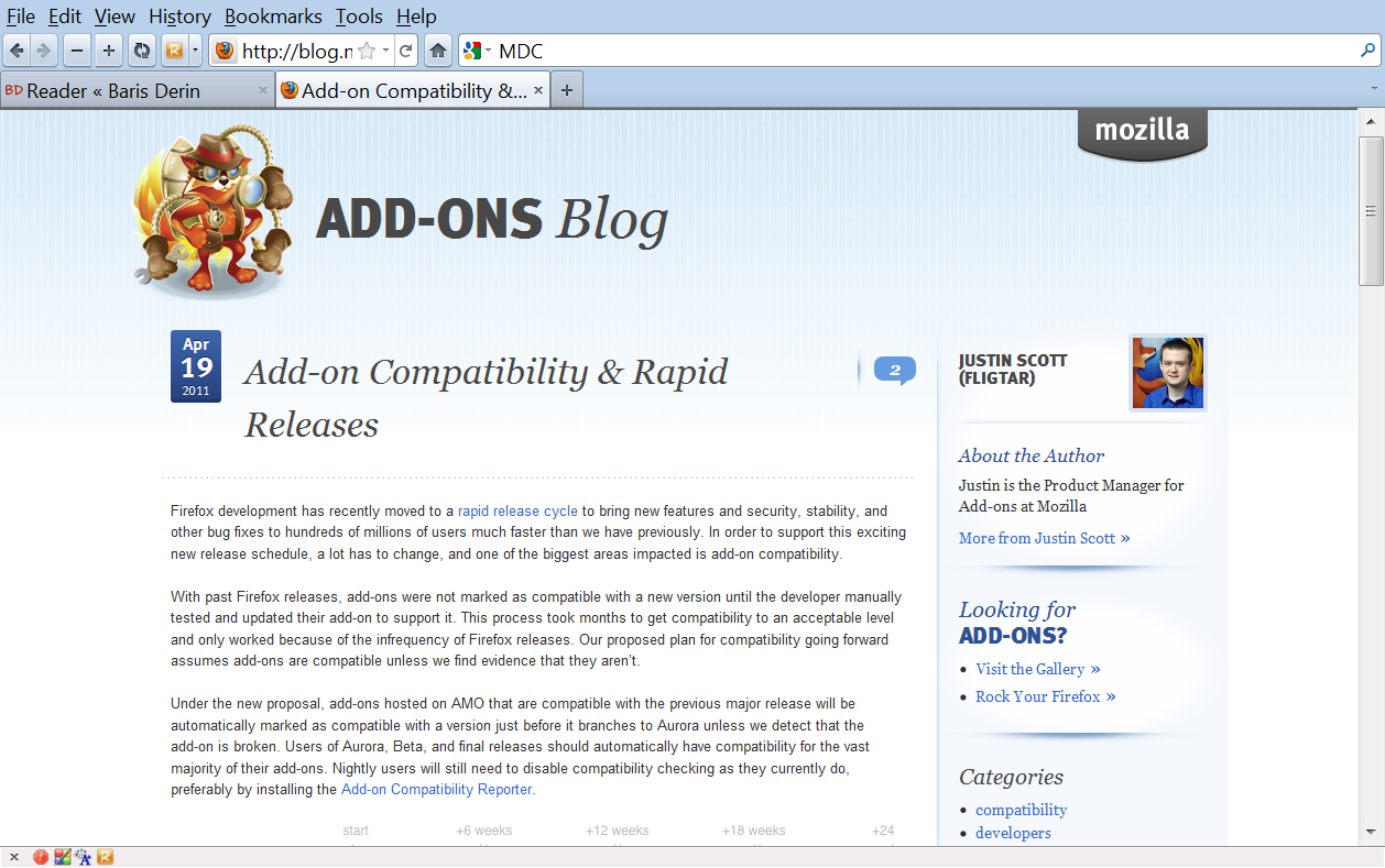 web page before using the Reader Firefox add-on