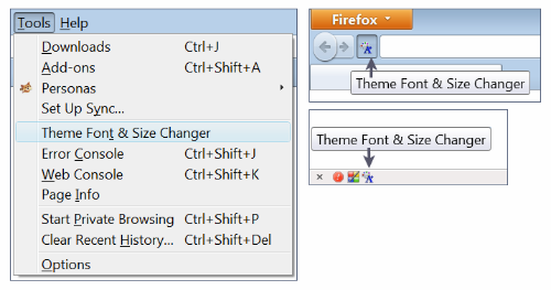Theme Font & Size Changer access options