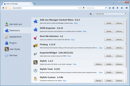 Firefox extensions manager