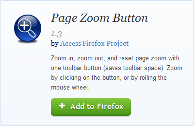 Screen shot of the Page Zoom Buttons add-on for Firefox